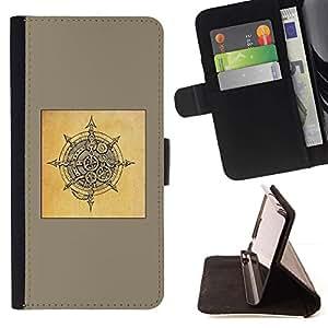 Momo Phone Case / Flip Funda de Cuero Case Cover - Bouclier Brun Noir Sketch - Samsung Galaxy J3 GSM-J300
