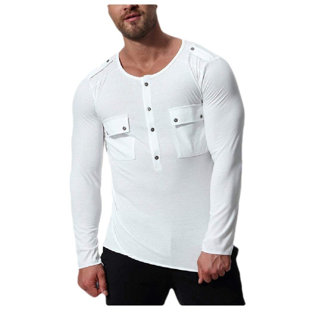 Abetteric Men T-Shirt Top Pullover O-Neck Long-Sleeve Solid Color Casual Blouse