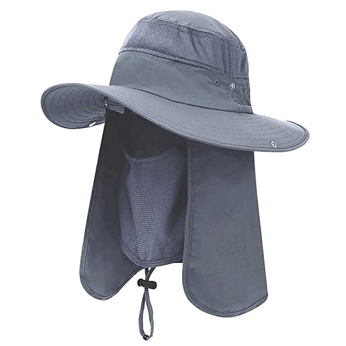 07280fb0 Amazon.com: Lenikis UV Protection Sun Hat Adventure Bucket Hat with  Detachable Flap for Camping Fishing Outdoor Activities Black Grey: Clothing