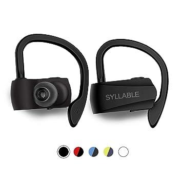 Auriculares Bluetooth Deportivos, Syllable D15 Auriculares Inalámbricos Estéreo para Deportes Bluetooth 5.0 Manos Libres con Micrófono Dual con Ganchos de ...