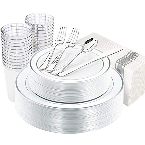 200 Disposable Silver Plastic Plates, Silver Plastic Silverware, Silver Plastic Cups, Silver Linen Napkins, Disposable Party Flatware, Plastic Dinnerware Set Service for 25 Guest,EnjoyLife Inc.