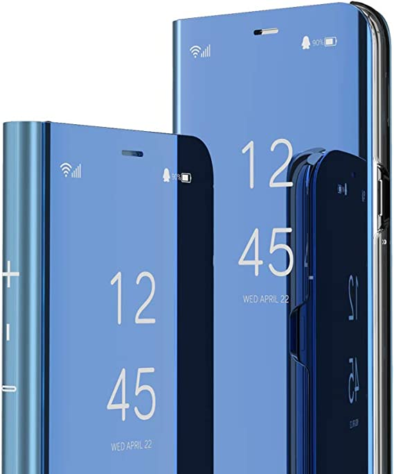 Honor 8X MAX//Enjoy 9 Plus Purple Flip Mirror Huawei Y9 2019 Case COTDINFORCA Mirror Design Clear View Flip Bookstyle Luxury Protecter Shell with Kickstand Case Cover for Huawei Y9 2019