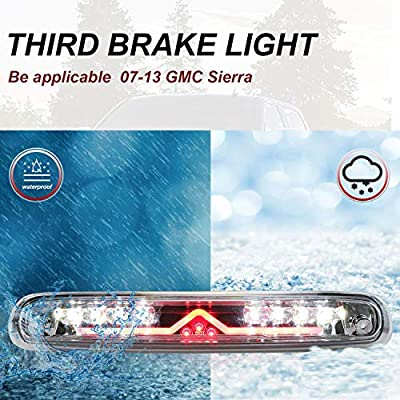 Youxmoto LED 3rd Brake Light High Mount Brake Light Cargo Lamp Waterproof Fit for 2007-2013 Chevy Silverado/GMC Sierra 1500 2500HD 3500HD 25890530 531066 Chrome Housing Clear Lens: Automotive