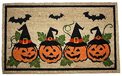 J & M Home Fashions Halloween Row of Pumpkins Vinyl Back Coco Doormat, 18 by 30""