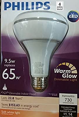 Philips WarmGlow 65W Equivalent Soft White (2700K) BR30 Dimmable LED Flood Light Bulb (4 Pack)