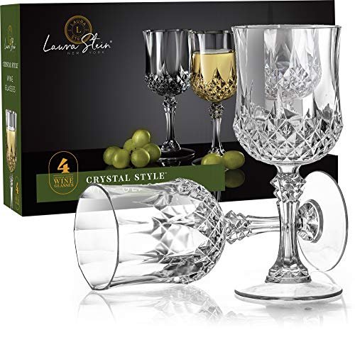 Laura Stein 4 Pack Plastic Crystal Style Wine Glasses with Stem, Disposable, Reusable, Heavy Weight Elegant Designed Round Wine Cups, Great For Wedding Reception, Parties, Or Any Upscale Event,