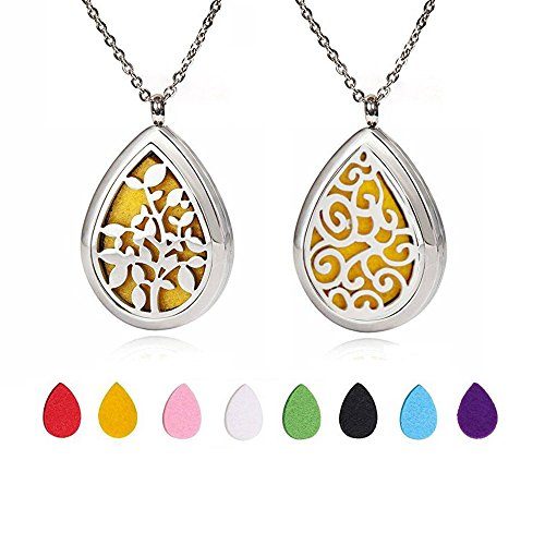 [2 Pack] Aromatherapy Essential Oil Diffuser Necklace Jewelry - Hypoallergenic Surgical Stainless Steel Locket Pendant with 24 Inch Chain with Reusable Washable Pads