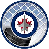 """Winnipeg Jets Dessert Plates NHL Hockey Sports Party Disposable Tableware, Paper, Round, 7"""", Pack of 8."""