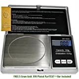 1 Digital 100 X 0.1 Gram (G) Electronic Pocket Scale-carat, Ounce, Gram & Grain + Free 5gram Gold Replica Weight Checking Bar Christmas Xmas Present Gifts Hanukkah Kwanzaa Black Friday Cyber Monday