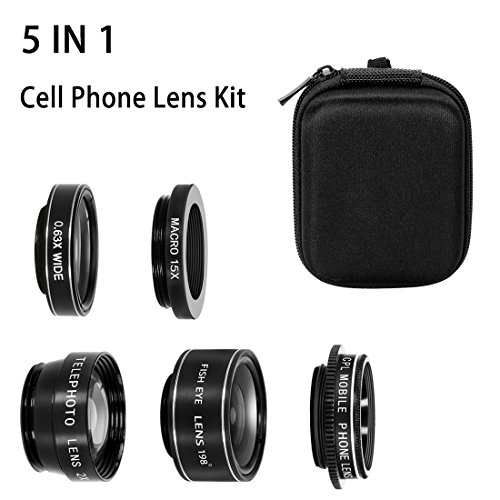 Telephone Lens (Azomovic 5 in 1 Cell Phone Lens 0.63X Wide Angle Lens 15X Macro Lens 198° Fisheye Lens 2X Telephone Lens and CPL for iPhone 8 / 7 / 7 Plus / X, Samsung galaxy S8+ / S8 / S7 Edge & Smartphones)
