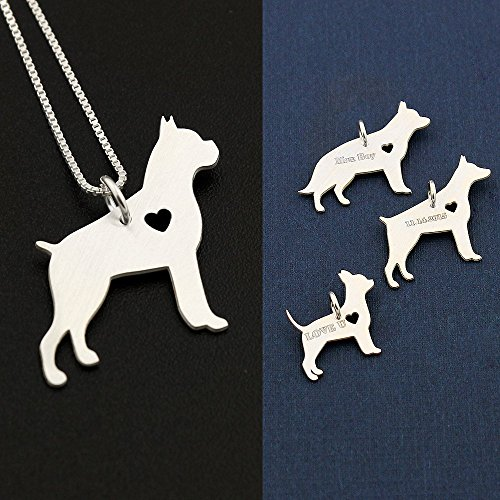 Boxer necklace Personalized sterling silver dog breeds pendant w/Heart - Love Pet Jewelry Italian chain Women Best Cute Gift Memorial Gift