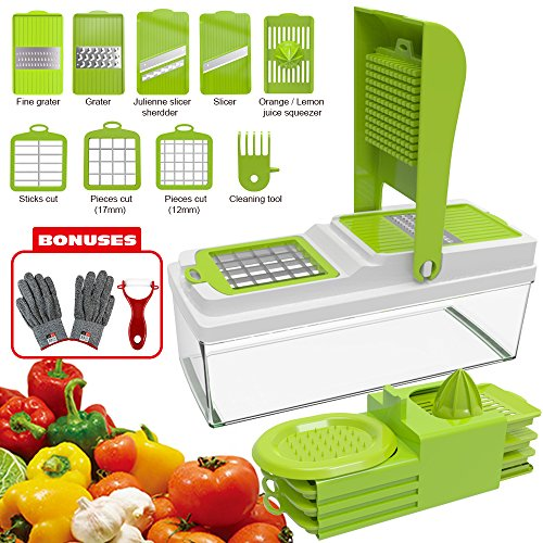 Professional Salad Cutter: Multifunctional Mandoline Slicer With Store Container And Lid –Vegetable, Cheese&Fruit Chopper With Sharp Interchangeable Stainless Steel Blades –2 Gifts Included