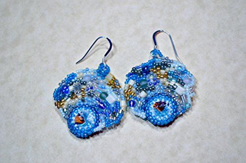 Blue Sky freeform peyote seed beaded earrings multicolored. Art jewelry. Wedding, special occasion, prom (Freeform Earwire Earrings)