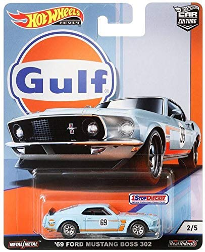 Ford Mustang 302 - Hot Wheels Car Culture Gulf Oil Series 2/5 - '69 Ford Mustang Boss 302 - Real Rides Have Real Rubber Tires! Great Collectors Item!