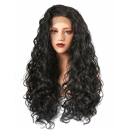 COLODO Curly Lace Front Wigs Synthetic Lace Front Wigs for Women Black Long (Wigs Lace Black Front)