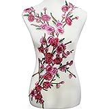 Resources House 1set Pink Flower Embroidery Applique Floral Patches Motif Venise Sew On Clothes Decoration