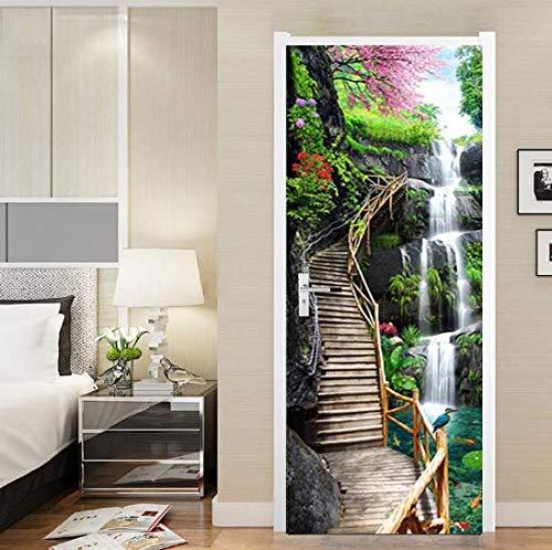 FLFK 3D Waterfall Trestle Bridge Self-Adhesive Door Mural Wall Sticker Bedroom Decor - Bridges Trestle