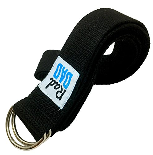 RDB Yoga Premium 100% Soft Cotton Yoga Strap (8 ft) w/ Adjustable D Ring Buckle for Yoga, Stretching, Physical Therapy