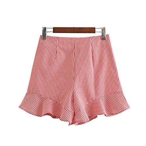 Women Sweet Ruffles Plaid Shorts Side Zipper Design Ladies Fashion Streetwear Casual Shorts Pantalones Cortos SA001 S ()