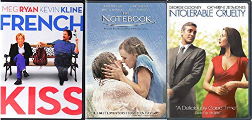 Dazzling Stars Love Movies Triple Pack Collection - Intolerable Cruelty George Clooney & French Kiss + The Notebook Nicholas Sparks DVD Movies 3 Film -