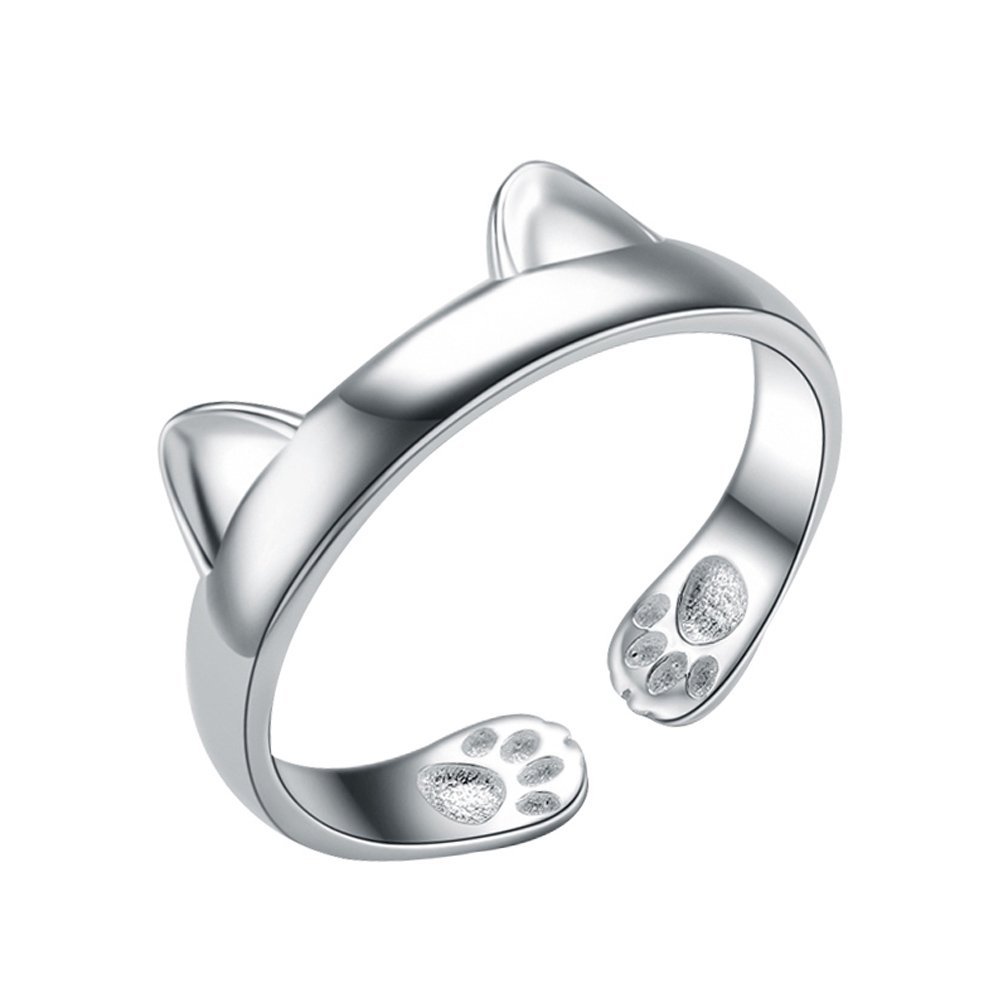 LicLiz Sterling Silver Cute Cat Ear Shape Open Ring, Adjustable Lovely Animal Band Gift for Girls