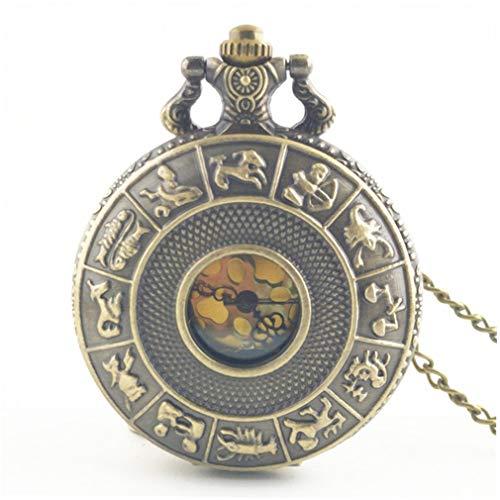 Constellation Ladies Quartz Small Watch - Unitedheart Twelve Constellations Vintage Antique Round Dial Quartz Pocket Watch Necklace Pendant Clock for Mens Womens Best Gifts