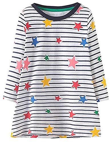 HILEELANG Toddler Girl Dress Stripe Long Sleeve Autumn Winter Cotton Basic Dress 1-7 ()