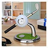Golf gift, World 9.99 Mall Mini desktop golf Clock Ball pen Stand with golf pens 2pcs set of golf souvenir Tour souvenir novelty gift (White)