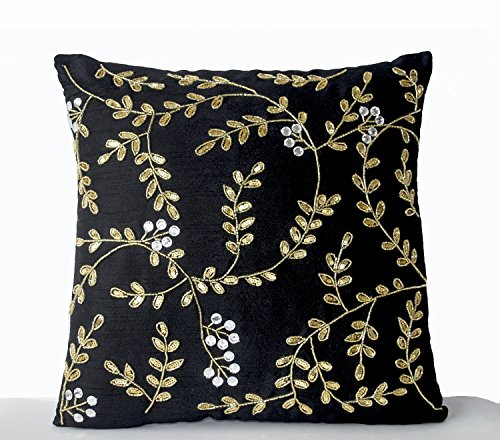 Amore Beaute Handcrafted Decorative Throw Pillow Covers - Black Gold Pillow Embellished with Sequin Beads Detail in Leaf Pattern - Sofa Pillowcase in Black Faux Silk - Couch Pillows (14x14 Inches)