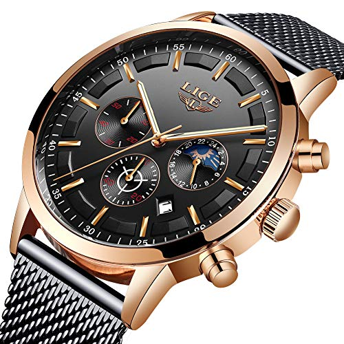 LIGE Watches Mens Fashion Waterproof Black Stainless Steel Analog Quartz Watch Gents Gold Military Sport Chronograph Date Wristwatch