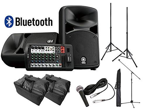 【スピーカースタンド+マイクセット+ケース付】YAMAHA Bluetooth対応 STAGEPAS600BT PAシステム   B07FC9NQ21
