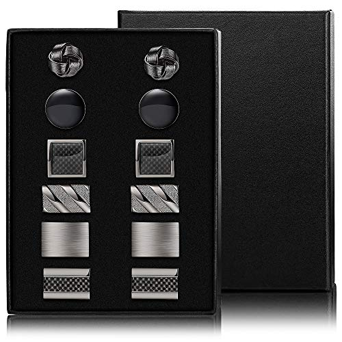 FIBO STEEL 6 Pairs Classic Cufflinks for Men Wedding Business Birthday Father's Gifts Cufflinks Set with Case