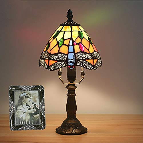 Mini Vintage Style Table lamp, Tiffany Style Bedside lamp Dragonfly Glass Shade Warmth Desk lamp Zinc Alloy E12 Table Light 11 Styles-Dragonfly H:12.6in