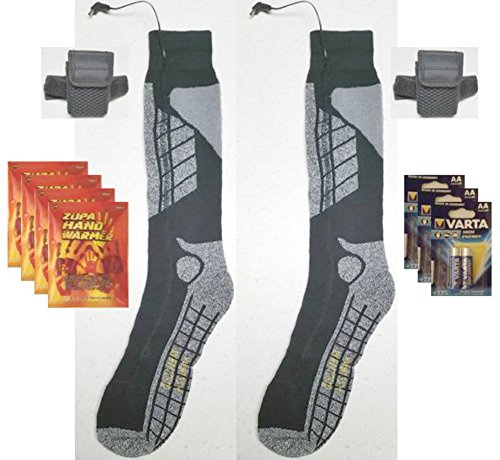 Price comparison product image Knee High Battery-Operated Thermal Socks/4 One Use Handwarmer/Six AA-Batteries 6-pc Bundle (Small (Men 6-9; Women 8-10))
