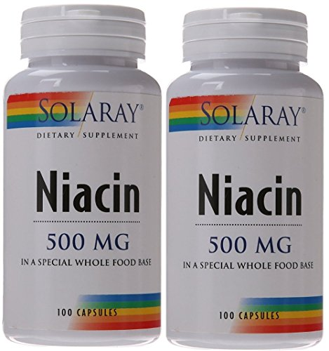 Solaray Niacin Capsules, 500 mg, 100 Count (Pack of 2)
