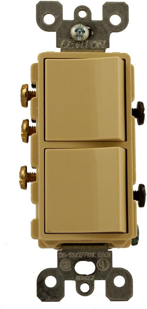 Leviton 5641-I 15 Amp, 120/277 Volt, Decora Brand Style Single-Pole / 3-Way AC Combination Switch, Commercial Grade, Grounding, Ivory