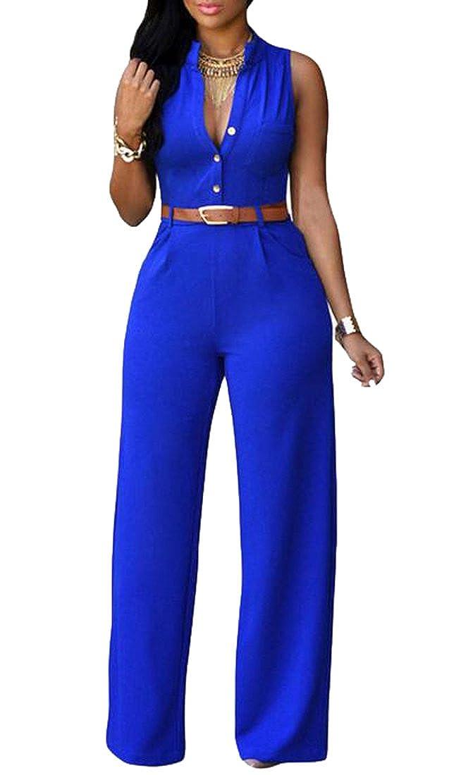 Teapolity Womens Casaul Solid Button up Shirt Sleeveless Work Wide Leg Jumpsuit Romper