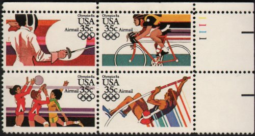 1984 SUMMER OLYMPICS '84~ LOS ANGELES, CALIFORNIA ~ FENCING ~ VOLLEYBALL ~ CYCLINg ~ POLE VAULT ~ AIRMAIL #C112a Plate Block of 4 x 35¢ US Postage - Air Mail Postage Us Stamps