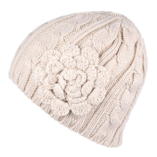 Hatsandscarf CC Exclusives Women's Knitted Cute Beanie Hat with Flower Accent (Beige) - Exclusive Flower