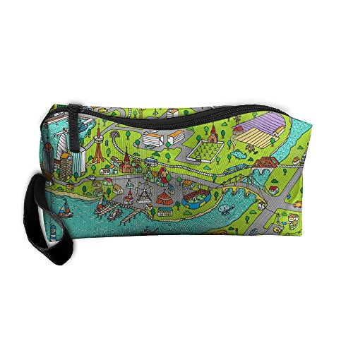 Doodle Street Road Map Town Zipper Closure 3D Printing Pencil Pen Case Cosmetic Makeup Bag Travel Bag Tote For Women - Oxford Street Loop