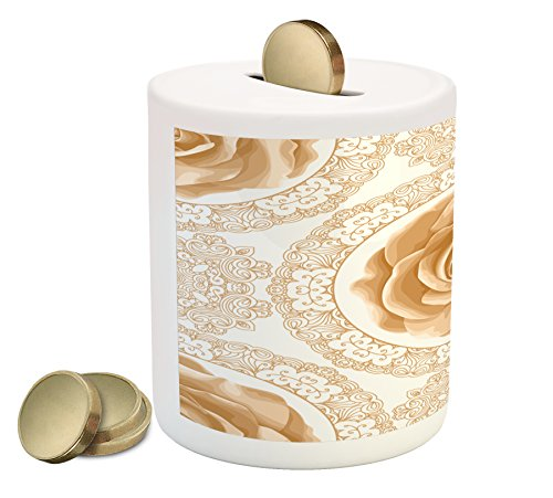 (Ambesonne Floral Piggy Bank, Rose Florets with Classic Golden Lace Authentic Feminine Retro Oriental Motif, Printed Ceramic Coin Bank Money Box for Cash Saving, Sand Brown White)