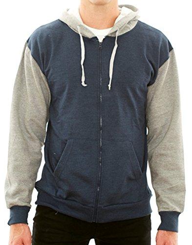 (New York Avenue Men's Full-Zip Hoodies -Soft Cotton Comfort Fleece Hooded Sweatshirts by NY Ave (XX-Large, Navy/Grey))