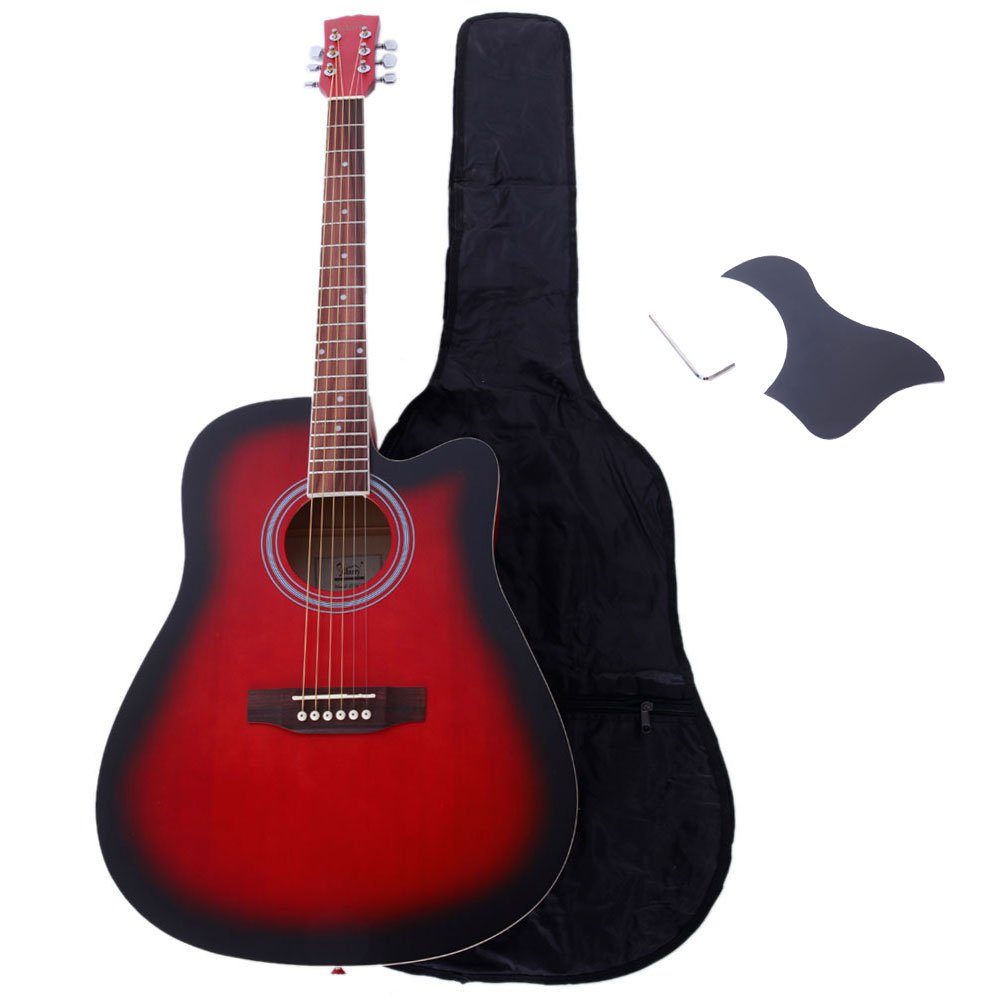 Teekland 41 inch Spruce Front Cutaway Folk Glarry Guitar with Bag & Board & Wrench Tool Gradient Red