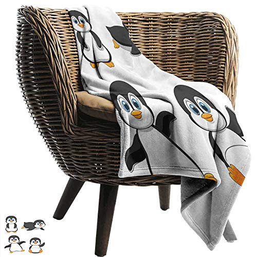 Flannel Blanket Baby Cute Penguin Cartoon Waving Standing Sliding Smiling Animal Humor Antarctica Camping Throw,Office wrap 57
