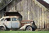 Antique Car with Old Barn Rustic Wall Art Nostalgic Gift for Him Americana Decor Unframed Photography Large Print Sizes Grey Rust Black Green Blue 5x7 8x12 12x18 16x24 20x30