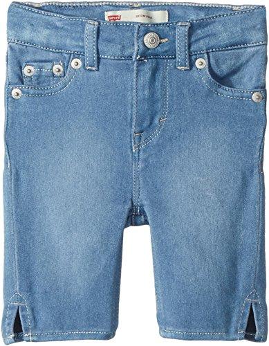 Levi's Girls' Toddler Super Soft Denim Bermuda Shorts, Light Indigo, 3T