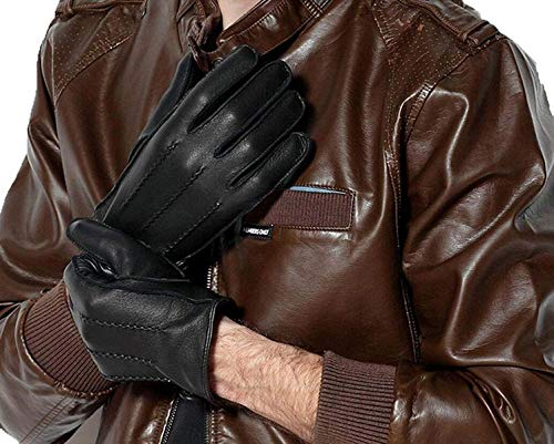 (Ronggoutrade Winter Gloves Thick Warmest Womens Unlined Deerskin Leather Driving Gloves Short Thicker Waterproof Winter Warm 3 Colors (Color : Black, Size : X-Large))