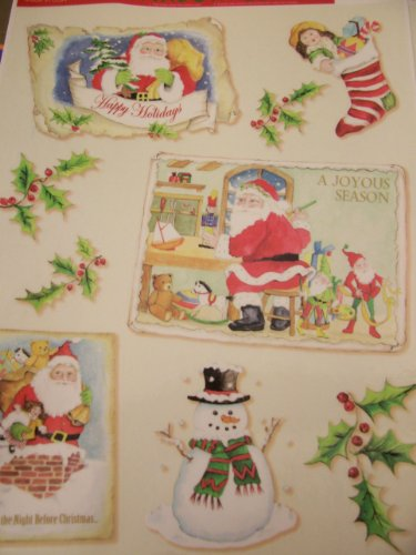 Christmas Postcard Holly - Christmas Window Clings ~ Postcards, Snowman, Stocking & Holly (9 Clings)
