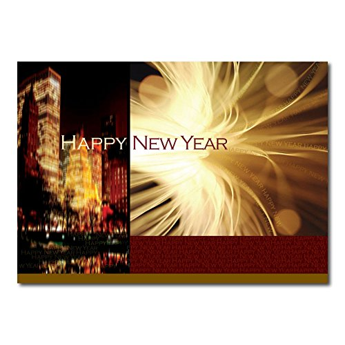 New Years Greeting Card N9003. Created for businesses or multiple senders. Gold foil-lined envelopes included.