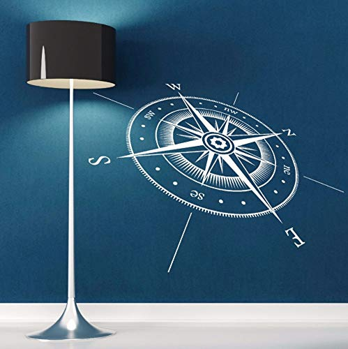 Dalxsh Compass Wall Sticker Vinyl Compass North South East West Points Wall Decal Vinyl Wall Art Mural Direction Design Decor 57X42Cm